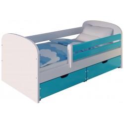 Łóżko MIMI śnieżna biel/niebieskie chmurki