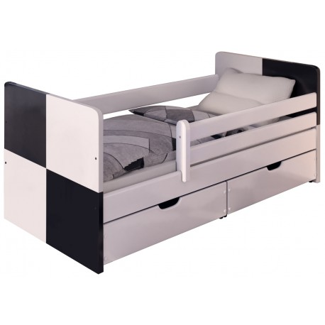 Łóżko BADI śnieżna biel/czarny dąb